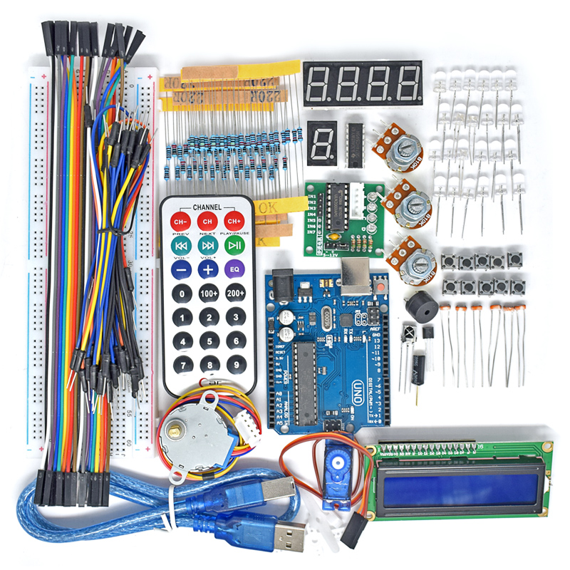 2019 New UNO R3 Board Project Super Starter Kit For Arduino Stepper Motor 1602 LCD DIY Project