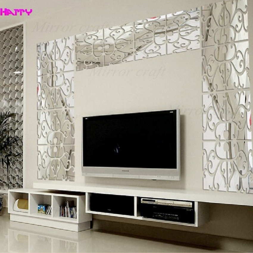 Acrylic Composite Diy Black Silver Golden And Red Modern Design Luxury Fashion Mirror Wallpaper Large Size Tv Wall Stickers Mirror Dresser Sticker Storagestickers Spoon Aliexpress