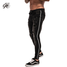 Gingtto Skinny Jeans Men Ripped Black Side Stripe Stretch Slim Fit Elastic Biker Male Big Size Ankle Tight Guys zm23