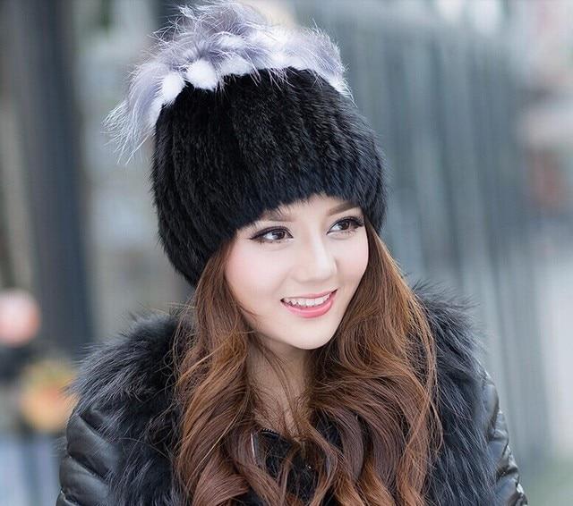 Dl-10316 Women Winter Real Fur Beanies Cap Genuine Mink Hat Elastic Handmade Princess Knitted Hat With Silver Fox Tops Headwear