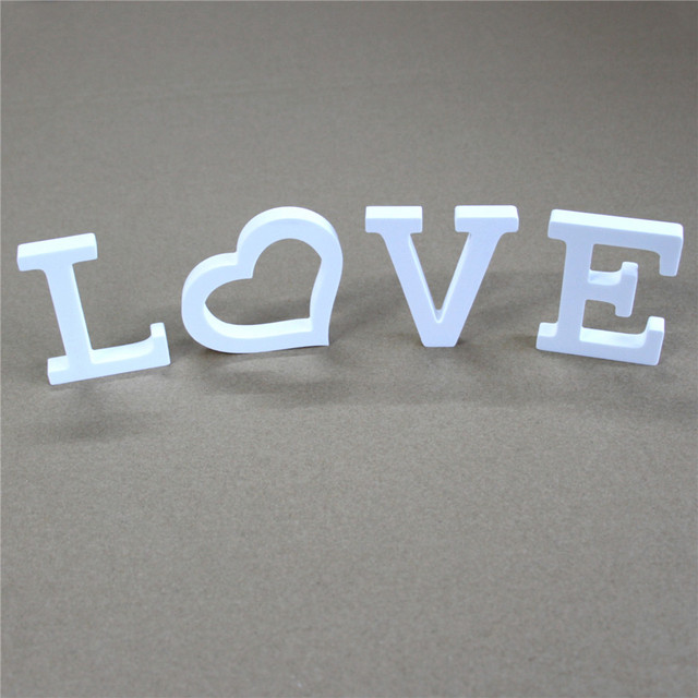 8cm home family wedding decoration white letters used for the name logo on the wall of the photo wall Artificial wood letters 2