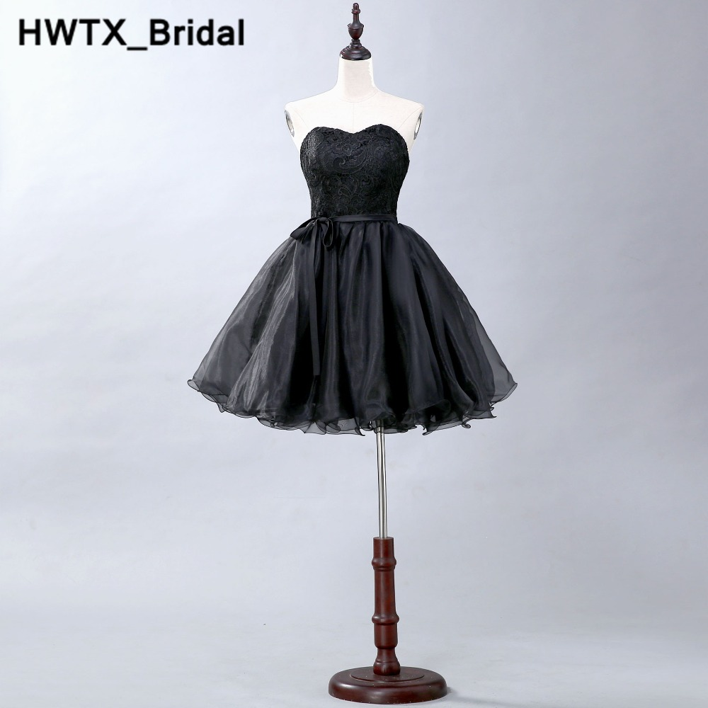 2018 Black Ball Gown Bridesmaid Dress With Sweetheart Neck Short  Lace Wedding Party Dress Organza Women Bridesmaid Dresses