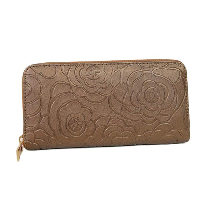 2016 New Fashion Women Wallets PU Leather Wallet Zipper Clutch Purse Ms floral zipper Long  Card Rose Embossed Wallet large capacity clutch purse female card bags new women long star wallet fashion banquet zipper pu leather wallets