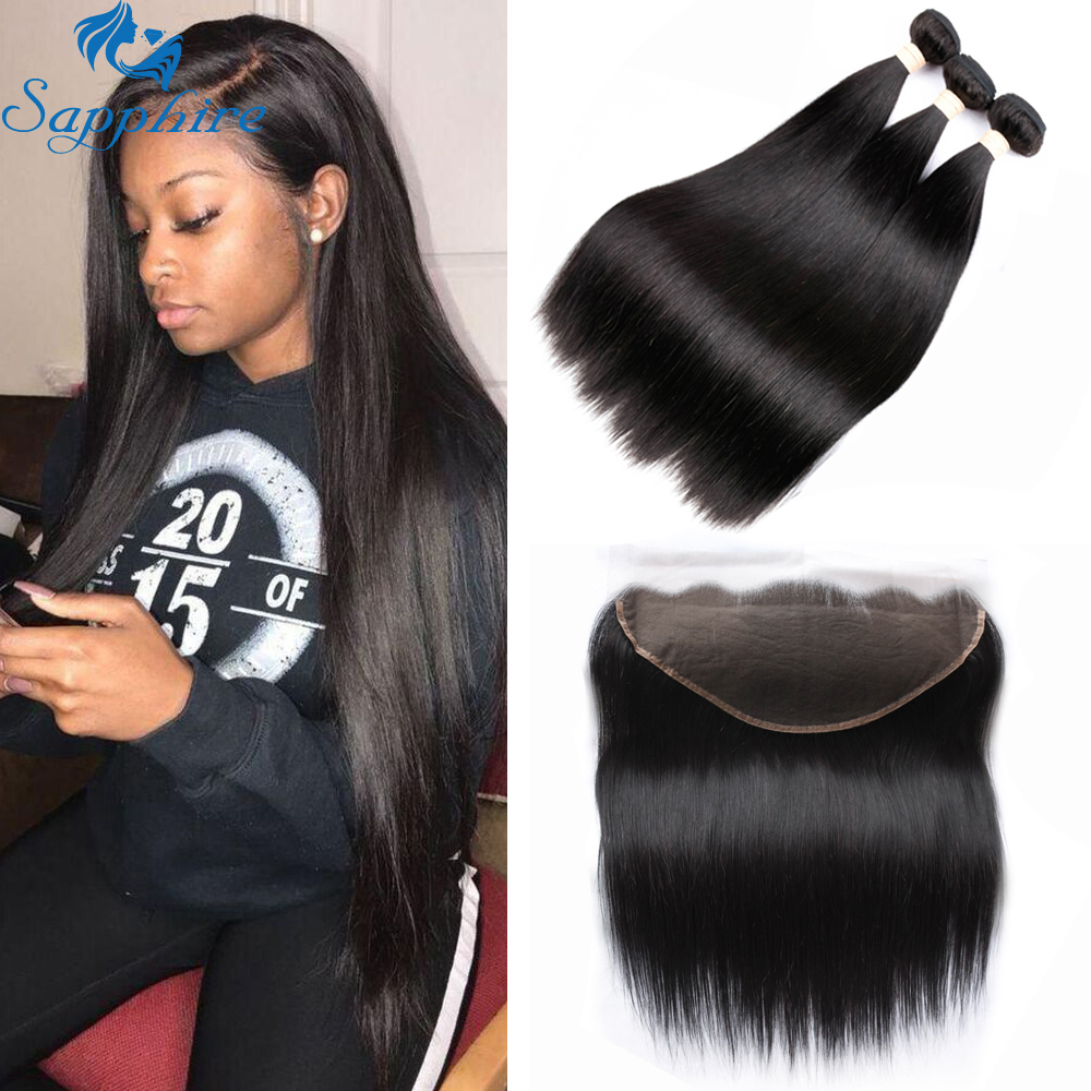 Sapphire Malaysian Straight Hair 13x6 Lace Frontal Closure with Bundles Remy Human Hair Bundles with Lace