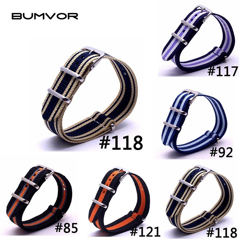 BUMVOR 22mm High Quality Waterproof Military Sport Fitness Nato Fabric Woven Nylon Strap Band Watchband Buckle Belt 22mm
