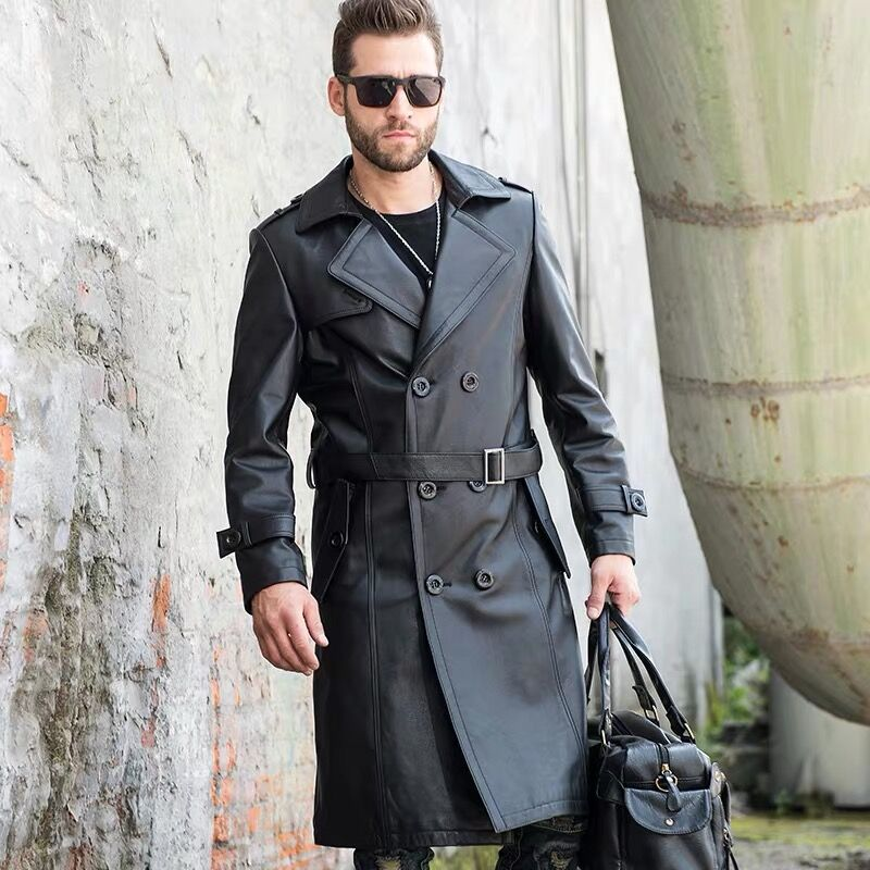 Hot Seller Mens Windbreaker Long 100% Cow Leather Collar Business Men Jacket Leather High-Quality Coat Best Sellers