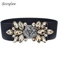 2017 Hot Fashion Women S Vintage Belt Flowers Waistband Rhinestone Belts Woman Elastic Waist Belt Female