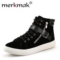 New 2015 Fashion Men Sneakers Brand Design Men Ankle Boots Casual Flock PU Patchwork Zipper Bukle