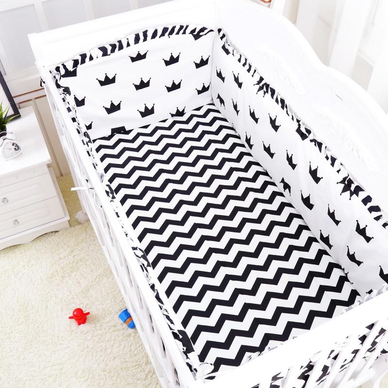 black white plus Crown  6pcs/set baby bedding set crib bumper sheet pillowcase crib around protection breathable cotton for baby