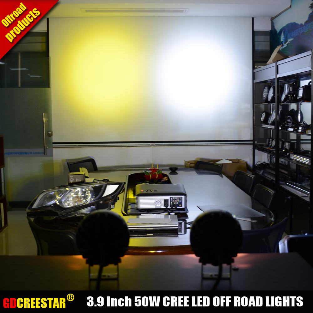 Car Led Tractor Work Lights 4 inch Round 50W Mini Led Off Road Lights 4x4 4WD Led Driving lights x2pcs/lots Free Shipping - 4