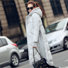 2016 Women Winter Down Cotton Jacket Long Women Coat Thick Female Warm Clothes Parka Hooded Plaid Stitching High Quality Coats