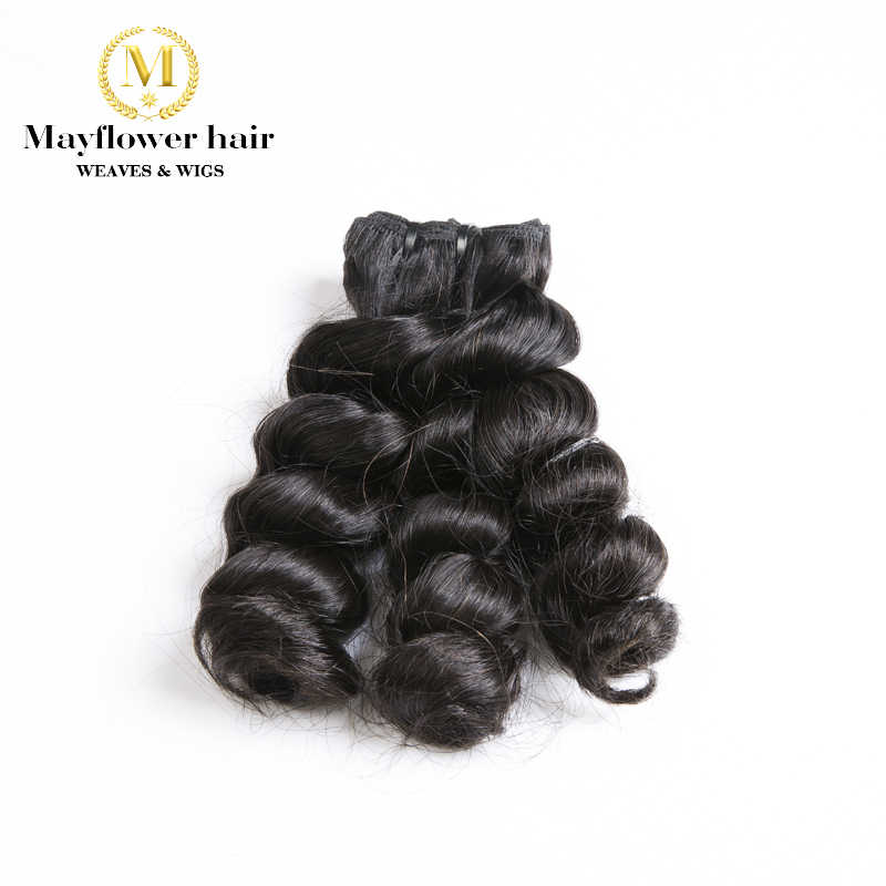 "Mayflower 1/2/34 bundles Funmi Hair Sassy curl Natural black color 10""-18"" Double drawn Remy hair weft NO tangle no shedding"