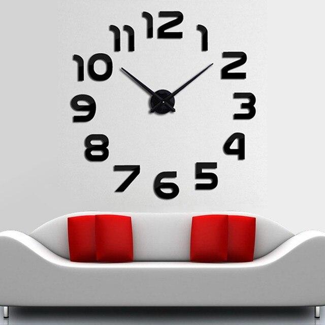 DIY Mirror Brief Modern Clocks 2016 3D Big Size Home Decor Quartz Wall  Clock Living RoomDIY Mirror Brief Modern Clocks 2016 3D Big Size Home Decor  Quartz