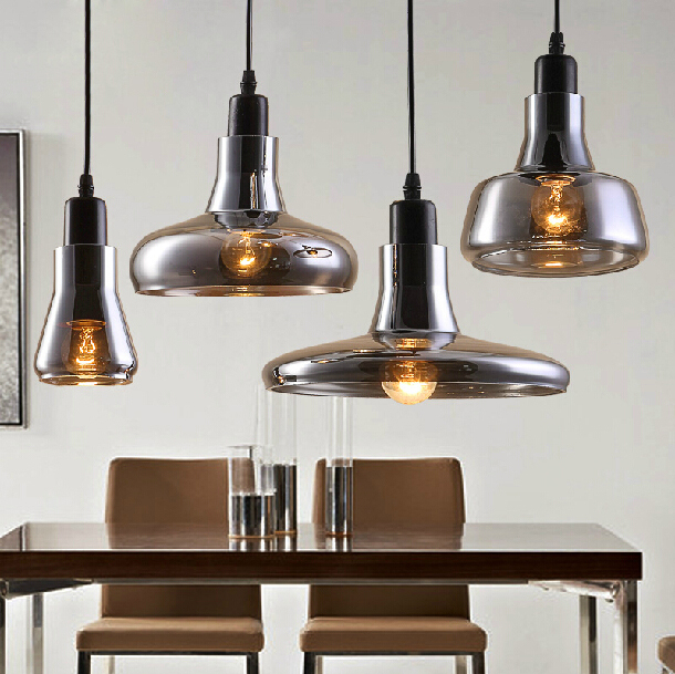 Nordic Modern LED Single-head Smoke Grey Glass Pendant Lamp Shade Cafe Bar Club Store Hall Restaurant Pendant Hanging Lights s vintage loft crystal fixtures lamp light glass pendant lighting cafe bar hall club store restaurant balcony
