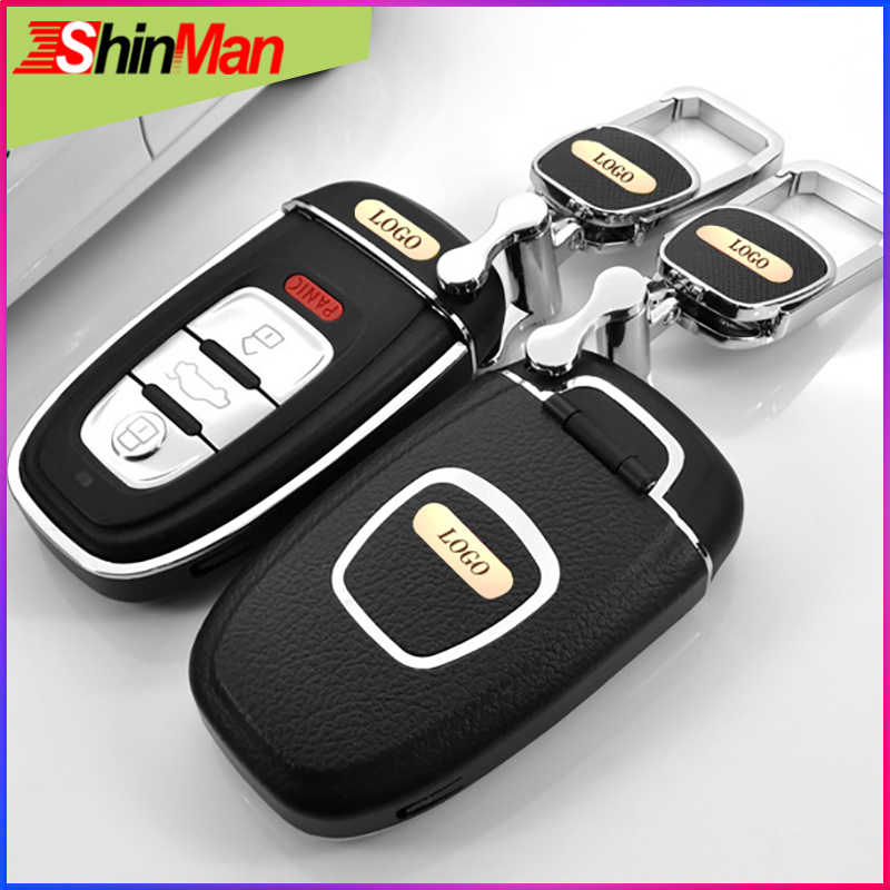 ShinMan Short Plug-in Style  key Cover key shell For CAR key case For Audi A4L A6L Q5  A5 A7 A8 S5 S6 S7 S8 Keychain Accessories