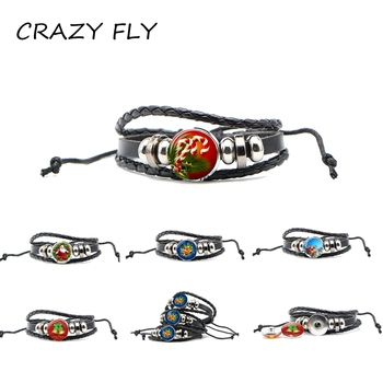 CRAZY FLY 2018 Christmas Snap Button Pattern Leather Bracelet Glass Christmas Tree Santa Claus Snap Button For Snap Bracelet New