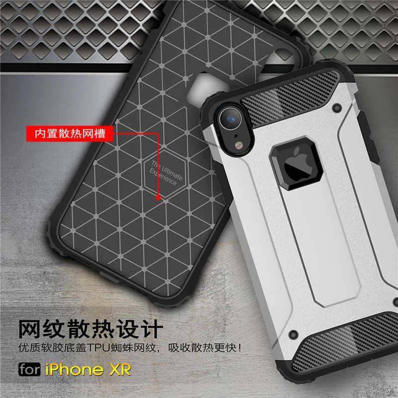 Per Iphone X XR XS Max Caso di Lusso Robusta Antiurto Molle di TPU + Dura del PC Armatura Duro Ibrido della Gomma di Silicone fundas Copertura del telefono