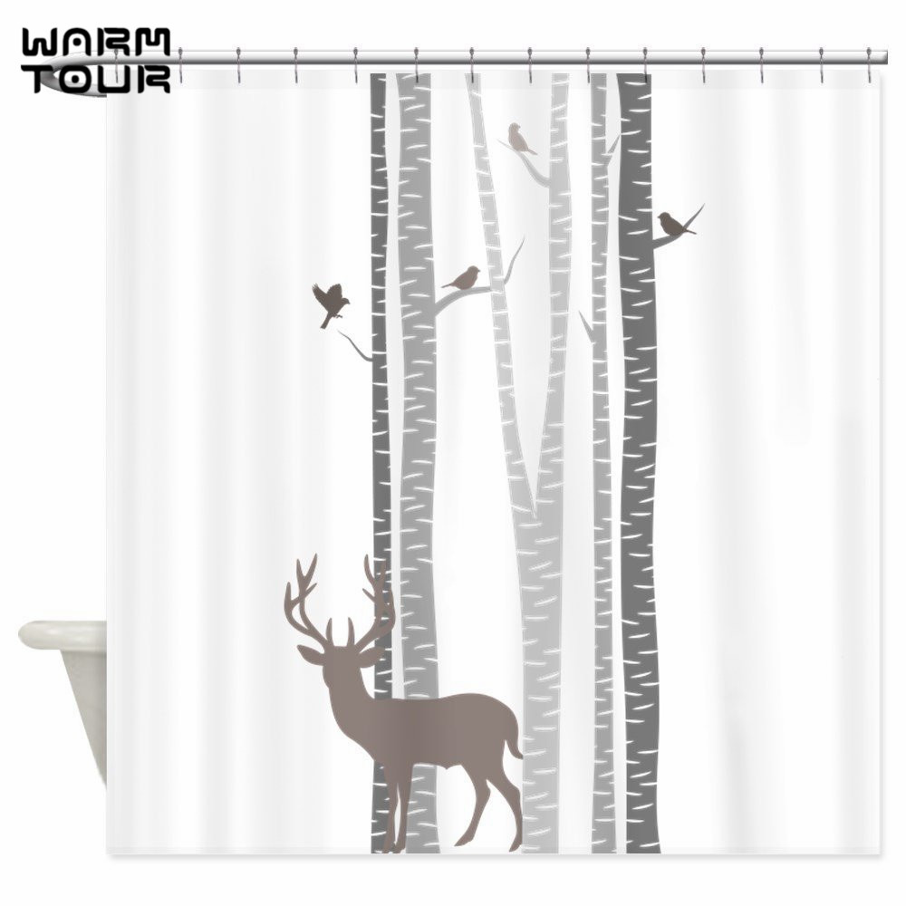 Birch tree shower curtains - Warm Tour Birch Trees With Deer Shower Curtain Polyester Fabric Waterproof Mildew Resistant Bathroom Curtain Wtc030