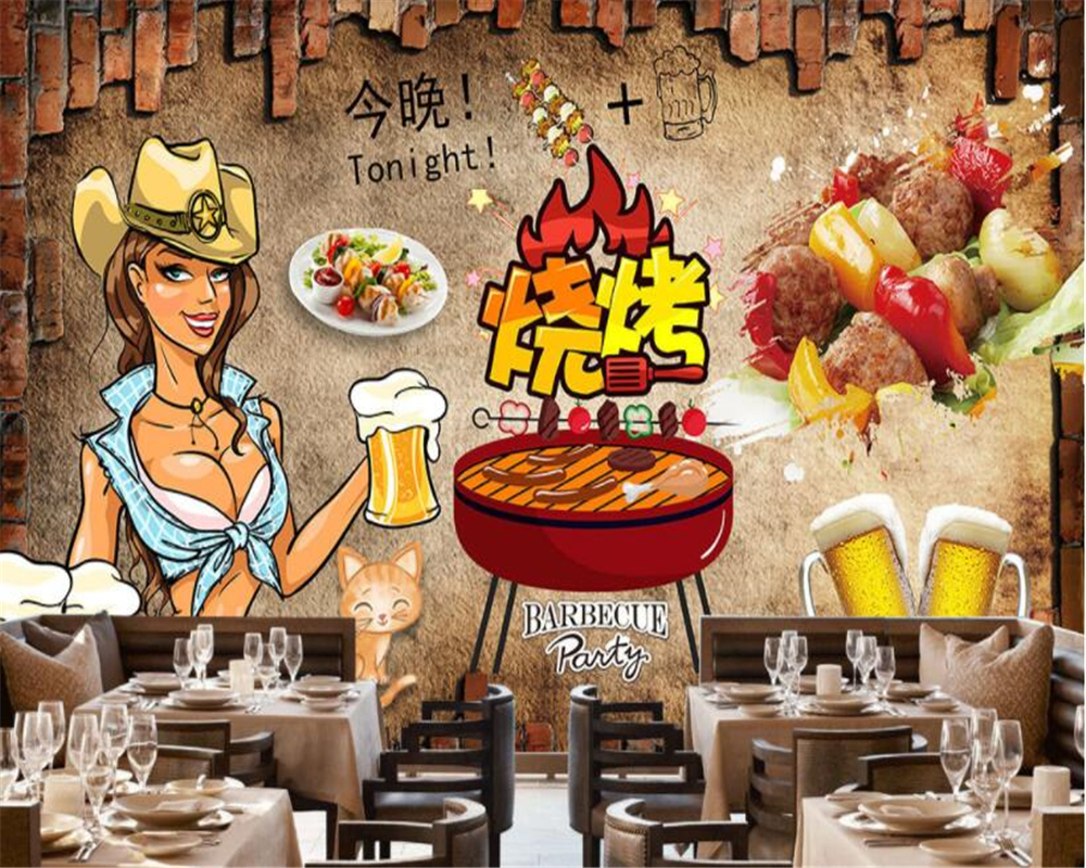 beibehang Retro Nostalgic Wall paper Hand Painted Line Bars Gourmet Restaurant Tooling Background papel de parede 3d wallpaper in Wallpapers from Home Improvement