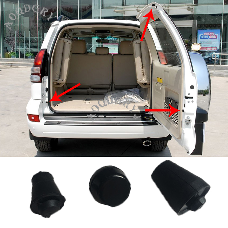 3pcs Car Styling Accessories Rear Trunk Tailgate Cushioning Granular Rubber Pad For Toyota Land Cruiser Prado LC120 2003-2009