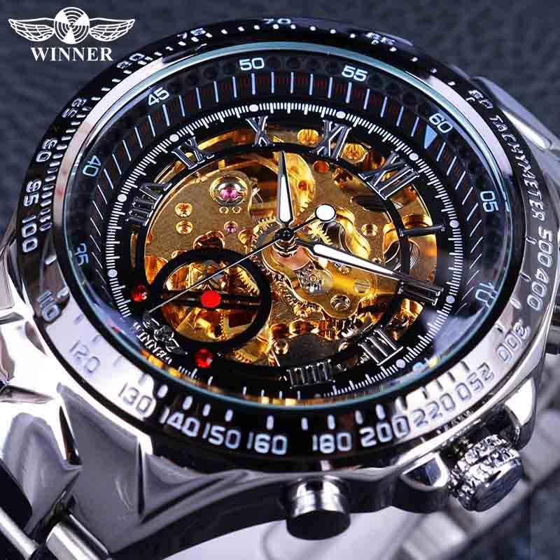 e3417053306 Winner Classic Series Golden Movement Inside Silver Stainless Steel Mens  Skeleton Watch Top Brand Luxury Fashion