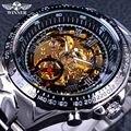 Ganador de la serie clásica de movimiento dentro de plata de acero inoxidable para hombre esqueleto reloj superior de la marca de lujo de moda reloj automático
