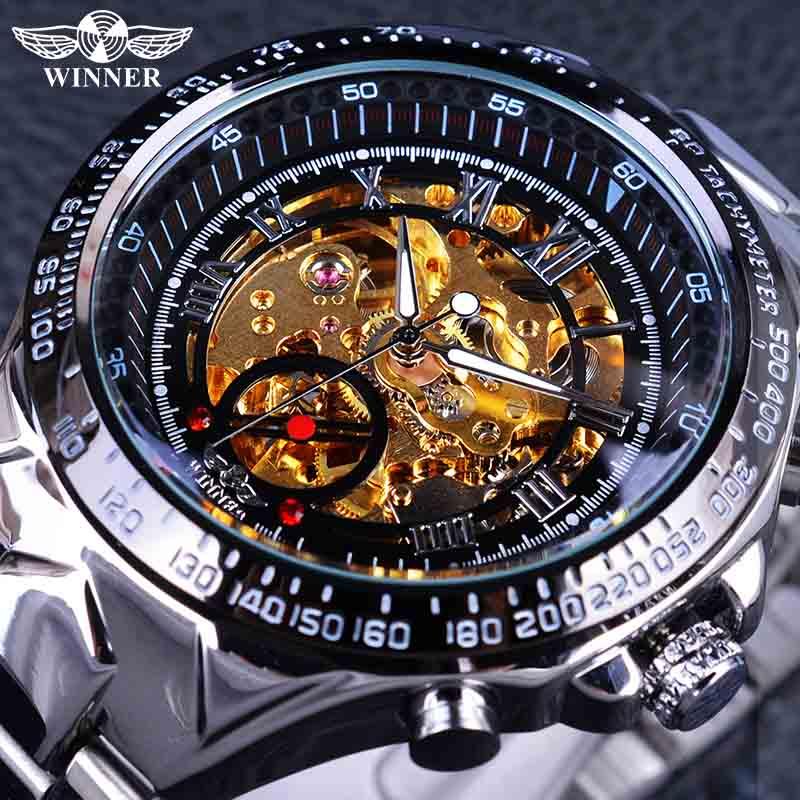 Gewinner Klassische Serie Goldenen Bewegung Innen Silber Edelstahl Herren Skeleton Uhr Top Marke Luxus Mode Automatische Uhr