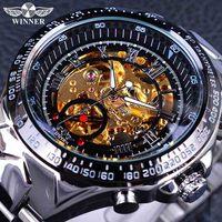 Winnaar Classic Serie Gouden Beweging In Zilver Rvs Heren Skeleton Horloge Top Brand Luxe Fashion Automatische Horloge