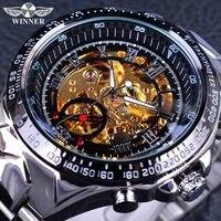 Winner Classic Series Golden Movement Inside Silver Stainless Steel Mens Skeleton Watch Top Brand Luxury Fashion
