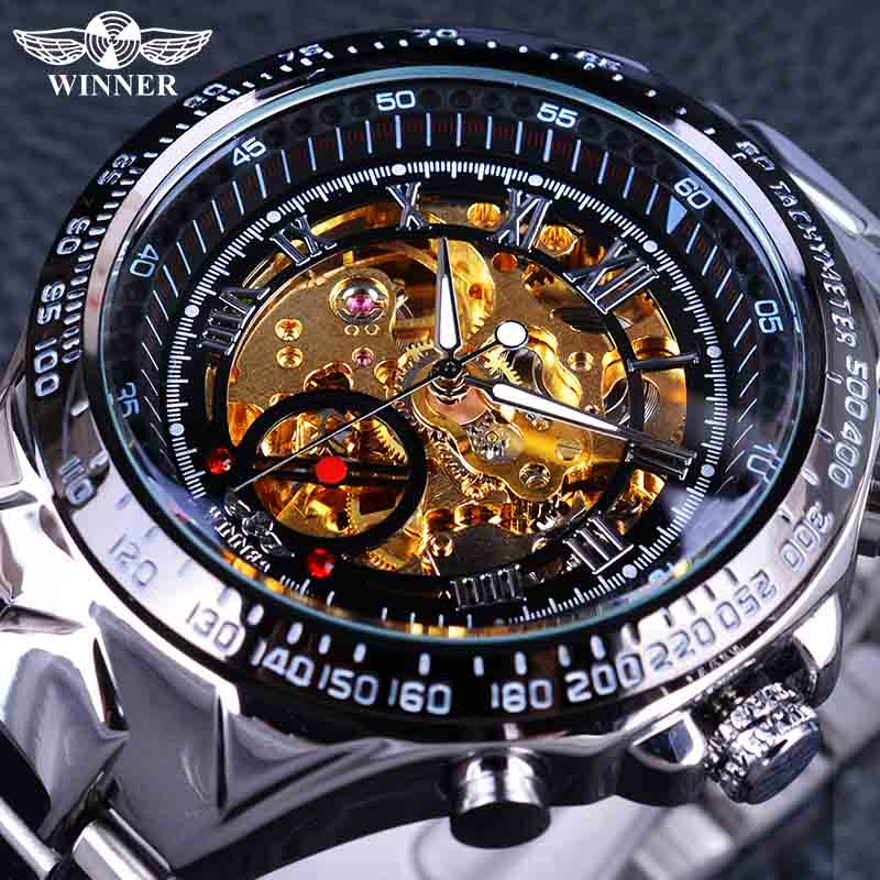 Zwycięzca Classic Series Golden Movement Inside Silver Stainless Steel Mens Skeleton Watch Top Brand Luxury Fashion Automatyczny zegarek