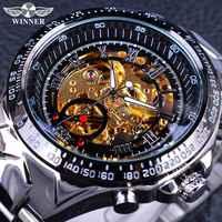 Winner Classic Series movimiento dorado en el interior de acero inoxidable para hombre reloj esqueleto marca superior de lujo reloj automático de moda