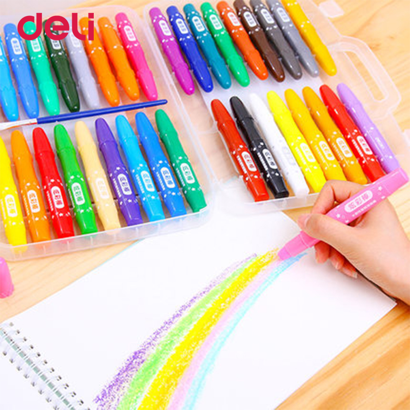 Deli non-toxic 12/24/36 color water soluble oil pastel wax crayon set for school painting art supplies cute drawing pen kid giftDeli non-toxic 12/24/36 color water soluble oil pastel wax crayon set for school painting art supplies cute drawing pen kid gift