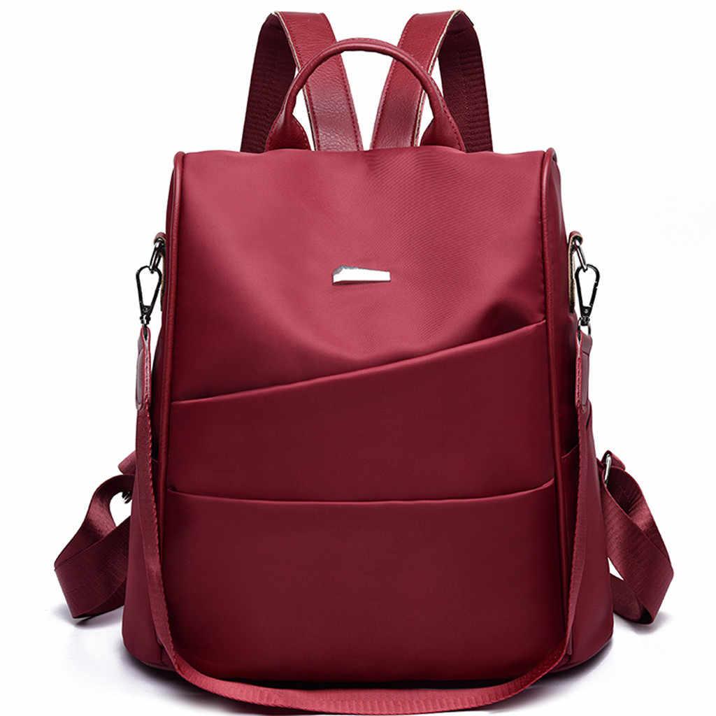 แฟชั่นผู้หญิงกลางแจ้งสีทึบ Oxford กระเป๋าเป้สะพายหลังกระเป๋าเดินทาง Oxford ผ้ากระเป๋าสะพายใหม่ June5