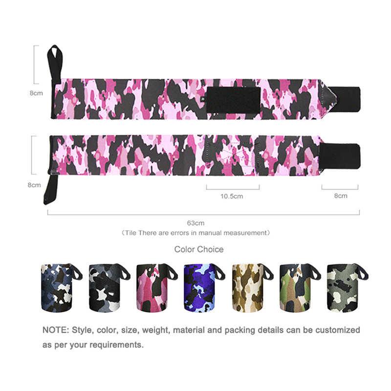 Camouflage nylon élastique réglable enroulement protection poignet paire de haltérophilie soulagement de la douleur poignet bandage