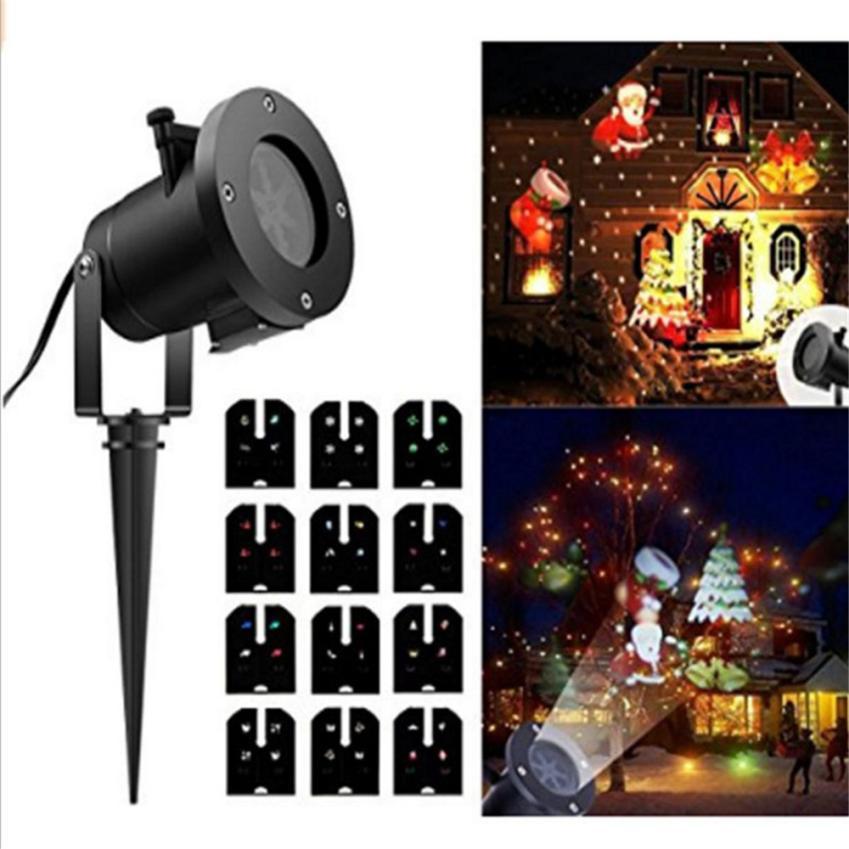 Christmas Snowflake Projector 2 Pattern Lens LED Party Light DJ KTV Bar Rotating Stage Lighting Bulb for Xmas Decoration