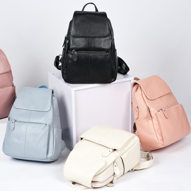 Zency 14 Colors 100% Genuine Leather Women Backpack Fashion Ladies Travel Bag Preppy Style Schoolbags For Girls Laptop Knapsack