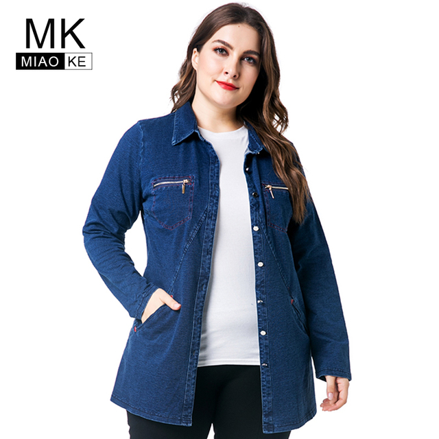 ef26e99671a8e Miaoke 2018 Autumn New Style Plus Size Women Denim Jacket Clothing Ladies  Blue Long Sleeve Denim Jacket 4XL 5XL 6XL