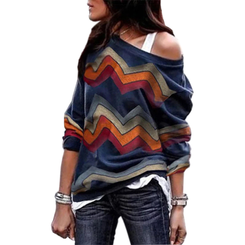 2019 Sexy Off Shoulder Top Harajuku Women Cold Shoulder Long Sleeve T-shirt Autumn Casual Knitted Top Print Plus Size Shirt