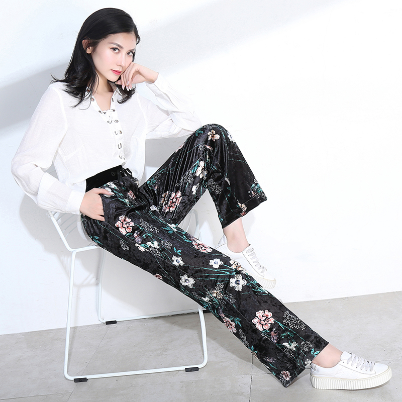 new Women's velvet   wide     leg     pants   female high waist autumn casual   pants     wide     leg   trousers loose Straight flower Print   pants
