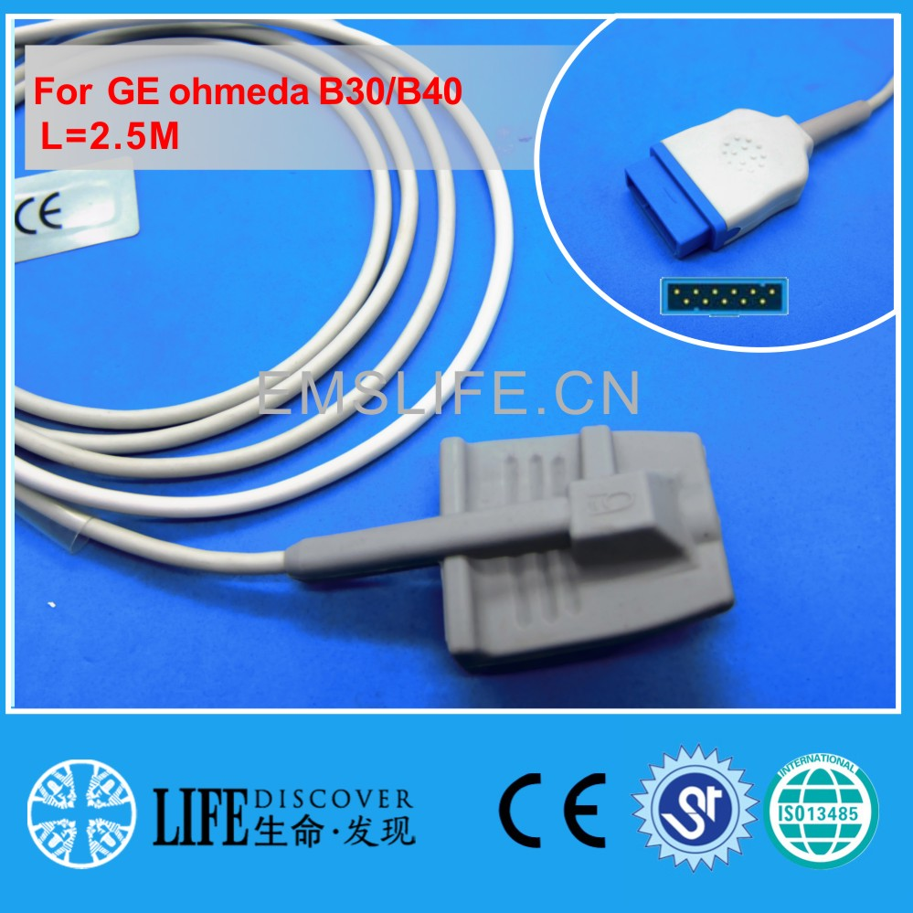 Long cable adult soft silicone spo2 sensor for GE Ohmeda B30,B40 patient monitorLong cable adult soft silicone spo2 sensor for GE Ohmeda B30,B40 patient monitor