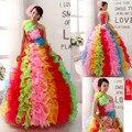 Nova Exquisite vestidos de quinceanera vestido de Baile Em Camadas Coloridas Handmade Flor Vestidos Quinceanera 2015