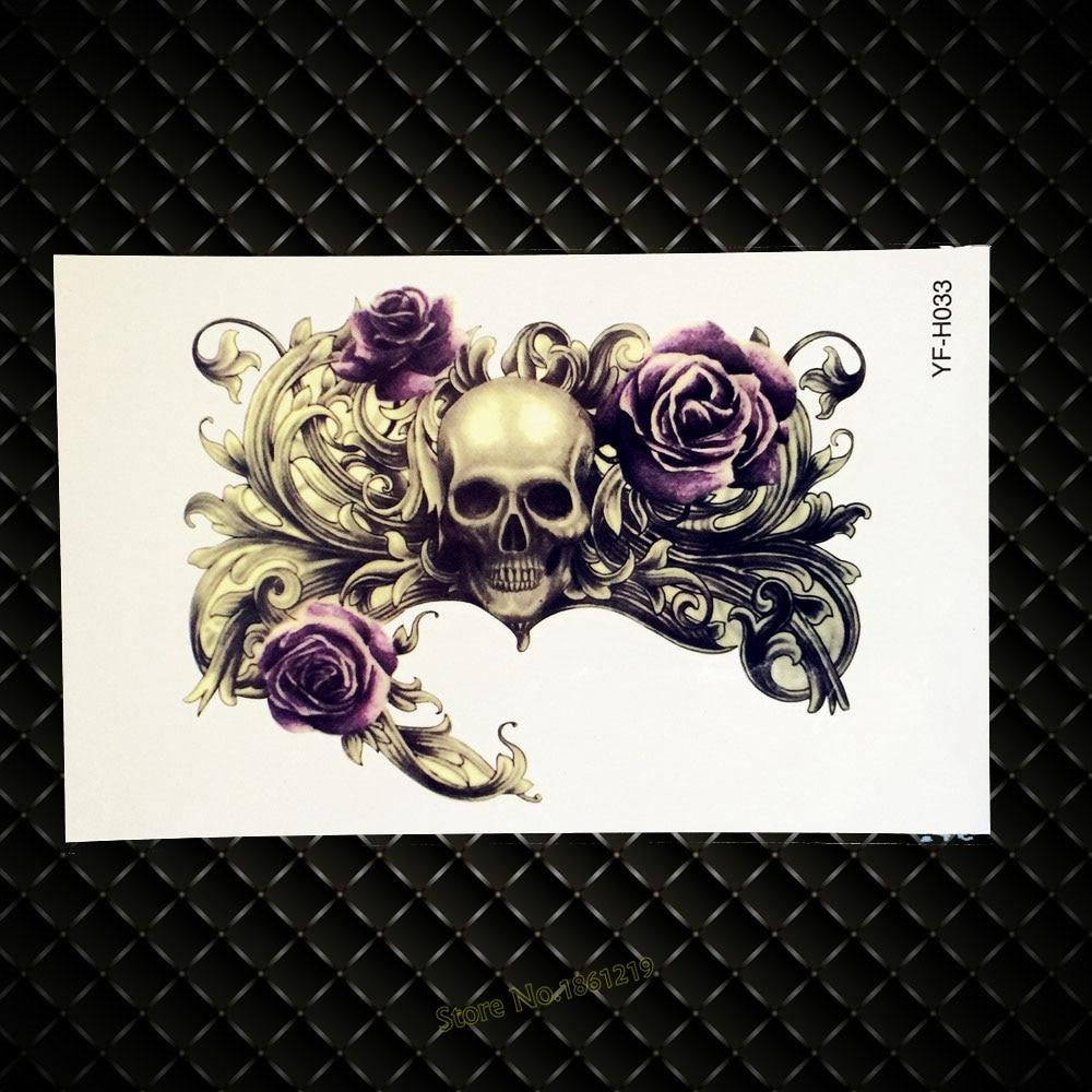 Skull Henna Tattoo: Waterproof Tattoo Sticker Cool Fashion Skull Roses