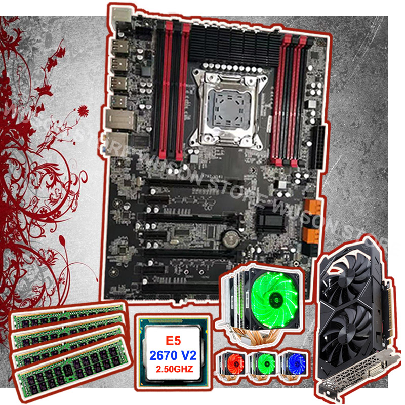 X79 Gaming PC Motherboard Set Brand Runing Motherboard With CPU Xeon 2670 V2 2.5GHz With Cooler RAM 4*16G 1600 RECC GTX1050TI 4G