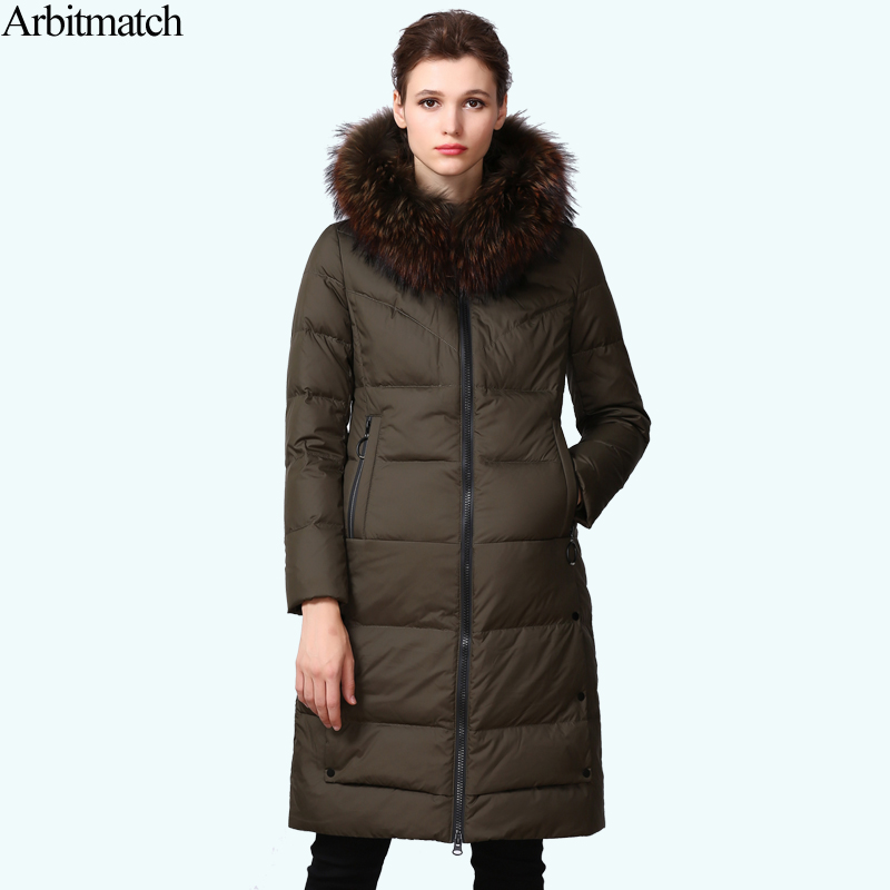 Arbitmatch Long Down Jacket Winter Jacket Women Real Large Racoon Fur Collar Hooded Warm Thick Outwear Female 90% Duck Down Coat