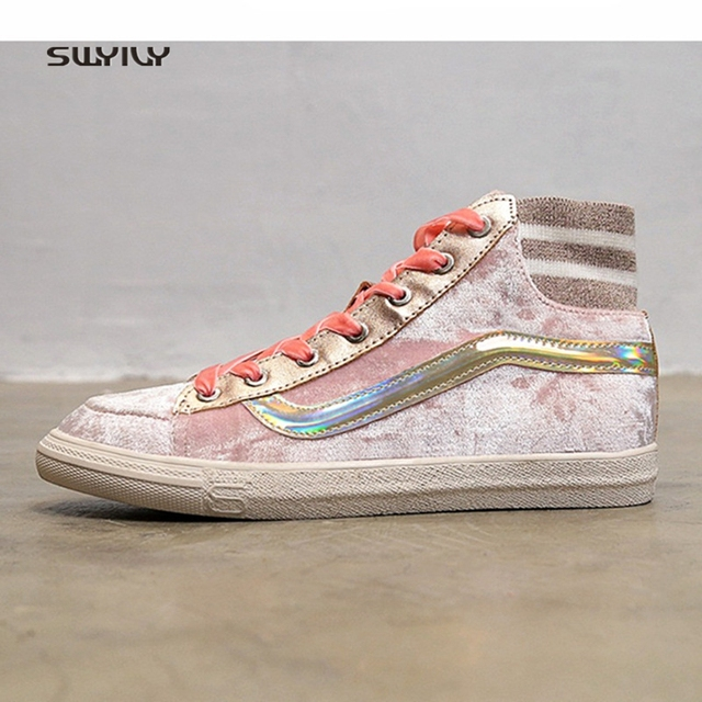 SWYIVY Women s Sneakers High Top Canvas Shoes 2018 Sping Gold Velvet Female  Casual Shoes Ins Hot 945abbeeb9db