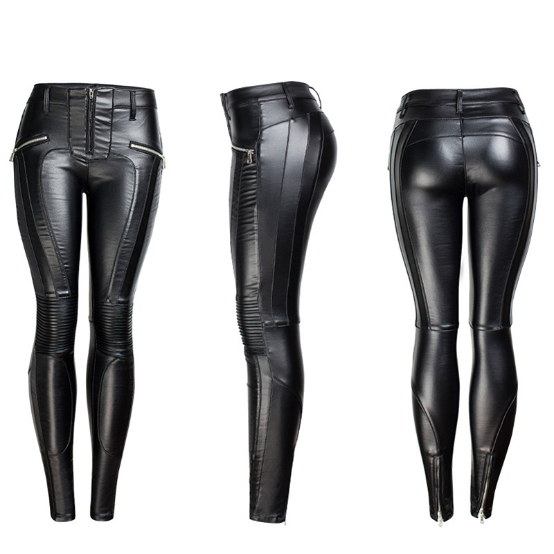 19 Winter Plus Size Stretch PU Leather Pants For Women High Waist Joggers Womens Trousers Pencil Skinny Waisted Female Pants 25