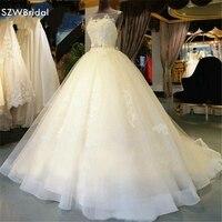 Casamento Su Misura abito di Sfera abiti Da Sposa 2018 del manicotto Della Protezione Del Merletto In Rilievo abiti Da Sposa Vestido de noiva vestito Da Cerimonia Nuziale
