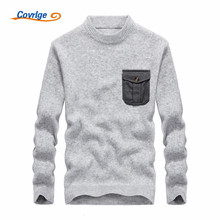 Covrlge 2017 Men's Sweaters Solid Color Semi-high Collar Pocket Fashion Christmas Male Free Shipping Mens Clothing M-3XL MZM005