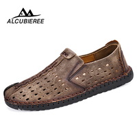Summer Shoes Men Leather Breathable Mesh Casual Shoes Slip On Loafers Sneakers Design Men Moccasin Walking