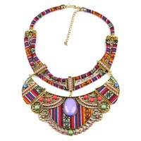 Hand Woven Rope Chians Ethnic Jewelry Bohemia Big Long Pendant Necklace Gold Plated Vintage Statement Necklace